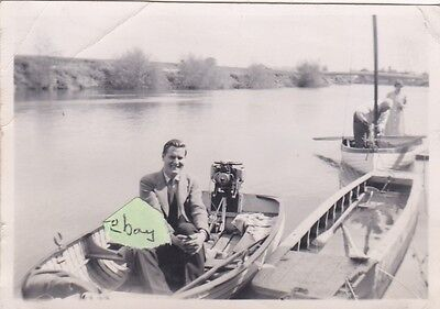 Old Photo Boat Iwa Lionel Munk Outboard Motor Norfolk Broads Maid Line Cruises