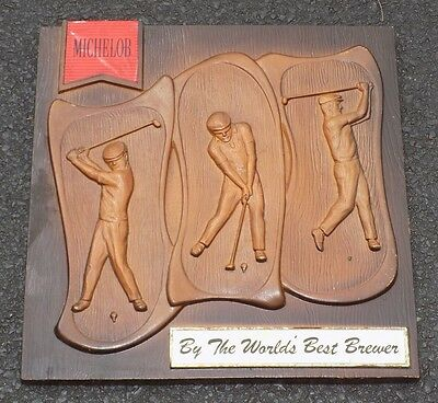 MICHELOB Beer Golf Bar Sign Faux Wood Plastic Wall Plaque Man Cave VINTAGE OLD