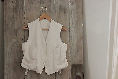 Men's vest waistcoat French clothes LINEN  clothing 1900's early old white