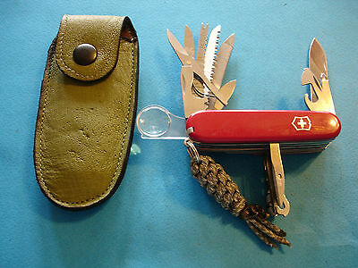 Ntsa Swiss Army Victorinox Champion Plus Pocket Knife W/leather Cas