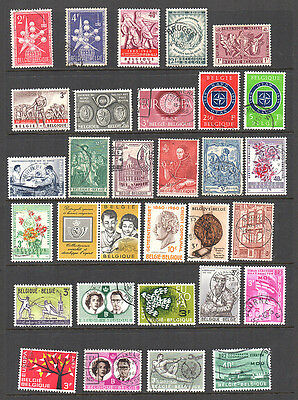 Belgium, 2 cards of 62 stamps mint & used 1957 to 1966.
