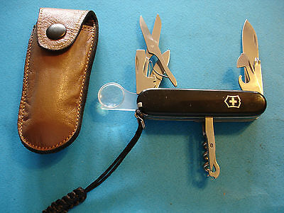 "Ntsa Swiss Army Victorinox Pocket Knife ""explorer"" With Custom Leather Case"