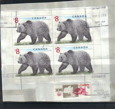 Canada 1997 Grizzly Bear $8 used block of 4 on piece