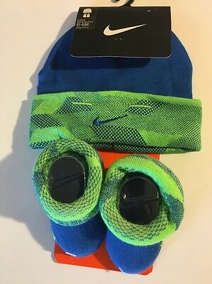 Infant Boys Nike Hat And Booties Set - Size 0-6 Months - Brand New