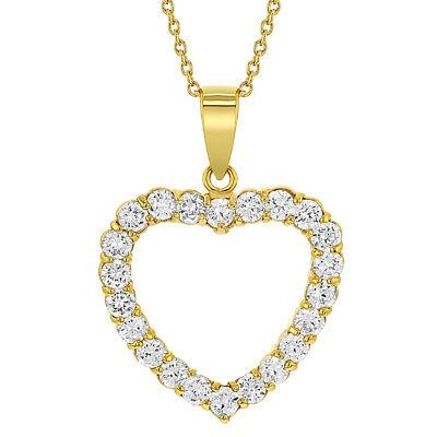 18k Gold Plated Clear Crystal Love Heart Pendant Necklace 19""