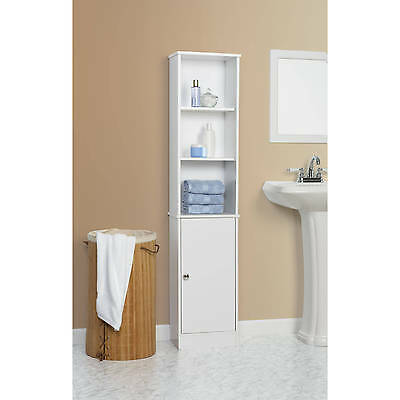 Tall White Storage Bathroom Cabinet Wood Linen Tower For Towel with Shelves Door