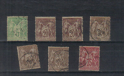 """France 1876-81 """"N"""" under """"B"""" used values to 75c"""