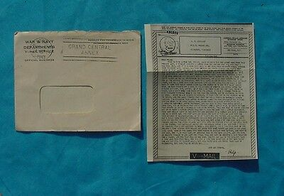 Wwii Us V-Mail Letter Sent From Soldier