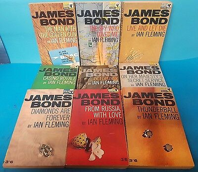 Collection of 9 Vintage Ian Fleming James Bond Pan Paperback Books