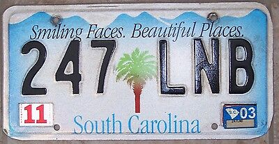 2003 Smiling Faces South Carolina License Plate very good condition 247 LNB Nice