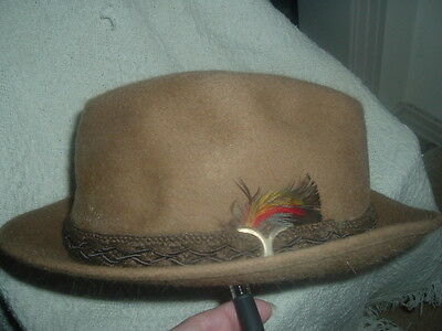 Vintage Stetson 3 X Beaver Camel Color Braided Band With Feather