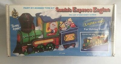 """New Wee Crafts Santa's Express Engine Paint By Number Kit Train 10"""" Christmas"""