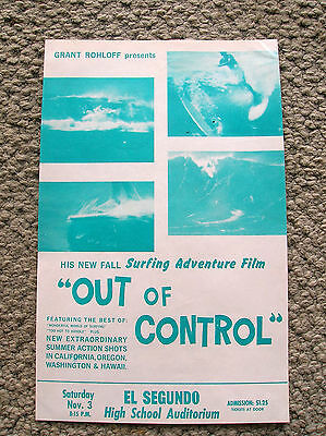 vintage surf movie poster out of control surfboard surfing 1960s surfer nice hot