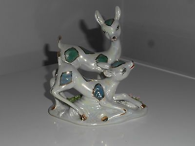 VINTAGE 1970's ITALIAN STYLE  DECORATED AND GLAZED CERAMIC DEER BAMBI FIGURINE