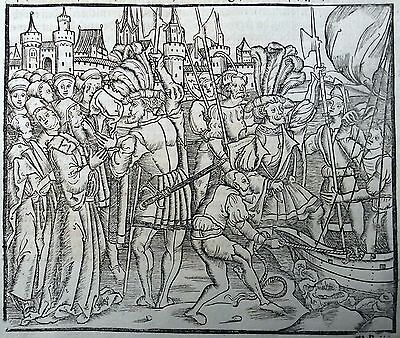 1505 LIVY rubricated POST INCUNABULA leaf woodcut TITUS TRUCE with NABIS Sparta