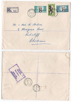 1966 SOUTH AFRICA Registered Cover SWARTKOPS To REDCLIFF RHODESIA SG266 to SG268
