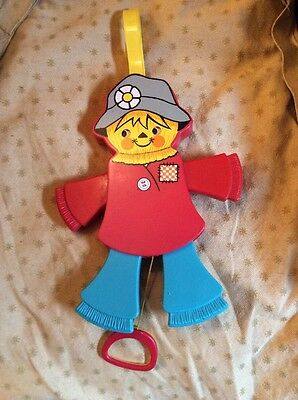 Vintage Fisher Price Pull Scarecrow Toy. 1978 Cot Toy