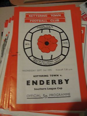 1975-76 Kettering Town v Enderby Town Southern League cup 3.9.1975