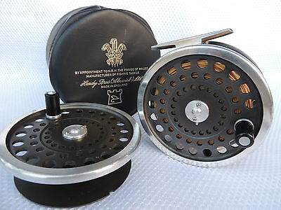 Vintage Hardy Marquis Salmon No1 Fly Fishing Reel + Spare Spool & Case.