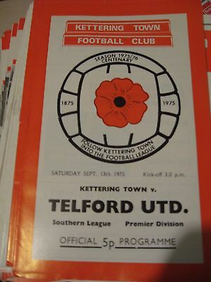 1975-76 Kettering Town v Telford United Southern League Premier 13.9.1975