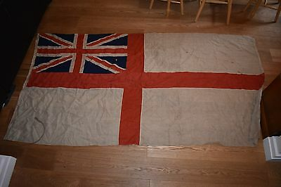 Huge Vintage British Royal Navy WWI WWII White Ensign Flag - Union Jack