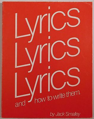 JACK SMALLEY Lyrics & How To Write Them DICK GROVE PUBLICATIONS songwriting book