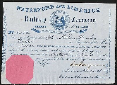 Waterford & Limerick Railway Co., £50 share, 1845, pink paper seal