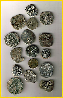 LOT(b)  16 SPANISH  ANCIENT COINS OF DIFERENT TIMES-MEDIEVAL-COLONIAL-etc.