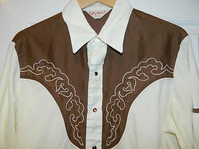Larry Mahan's Vintage American 1970s fitted seventies Western Cowboy Shirt