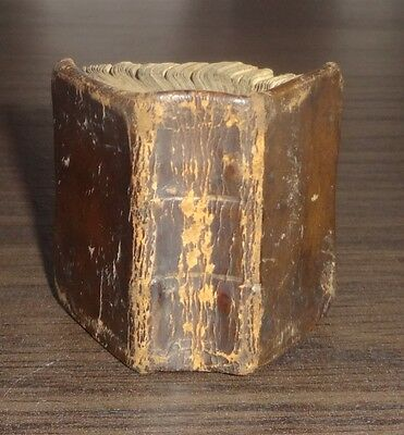 1700's MINIATURE HOLY BIBLE, WITH ENGRAVINGS, ORIGINAL LEATHER BINDING, MEASURES