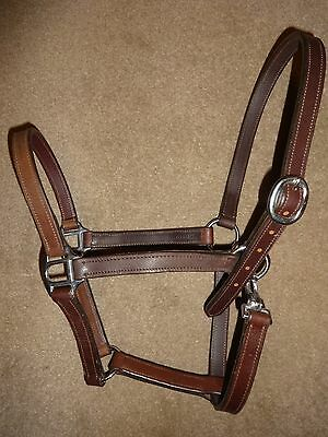 Lovely Quality Soft Dark Brown Leather Headcollar - Cob Size