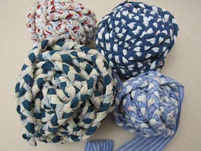 "4 Vtg Primitive BRAIDED Rag Balls Braided Rug Making 6"", 5"", 4"" & 3"""
