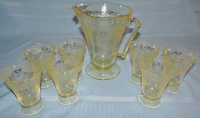 "Yellow Florentine #2 Depression Glass Pitcher 4"" Juice 7 Tumbler Set Vtg Antique"