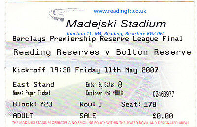 Football Ticket READING RESERVES v BOLTON WANDERERS RESERVES May 2007 Final