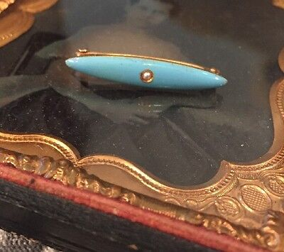 Vintage Antique Victorian 10k Turquoise Enamel Seed Pearl Bar Pin Brooch