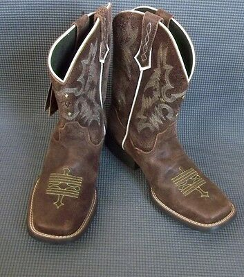 NEW Ariat  Distressed Brown/Green leather western style boots # 10007846  SZ 4 Y