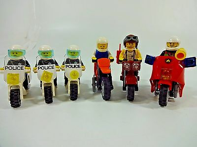 Lot of 6 LEGO Misc Minifigure Motorcycles w/ Riders Police Bikes & more