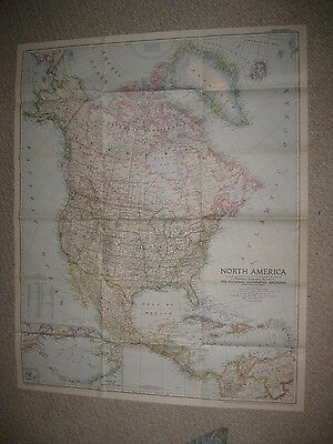 Gorgeous Antique 1952 North America National Geographic Map United States Canada