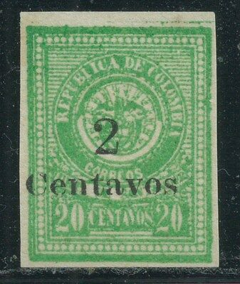 COLOMBIA State 1905 SANTANDER  LOCAL  SC# 32 OVERPRINT 2CENTAVOS UNLISTED MNG VF