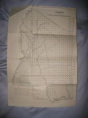 Early Antique 1845 Mississippi Map Native Indian Biloxi Vicksburg Jackson Rare