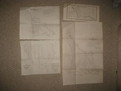Set Of 4 Antique 1845 Louisiana Map New Orleans Lake Ponchartrain Red River Nr