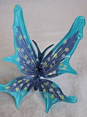 Glass Butterfly Hand Painted Gorgeous Blue Purple Collectible New in Box