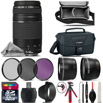 Canon EF 75-300mm III Lens + UV CPL FLD Filter -for EOS Rebel T5, T5i, T6 Camera