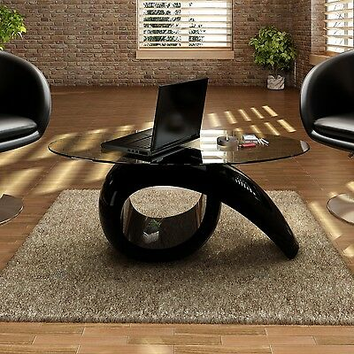 New Modern High Gloss Glass Top Coffee Table Black Side Dinner Office Kitchen