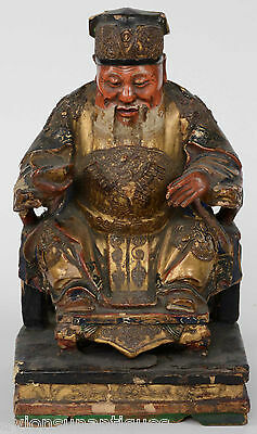 Qing Dynasty Chinese Carved Wood Gilt Lacquered Imperial Figure Seated Official
