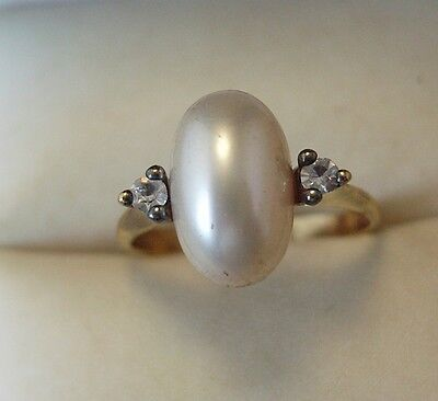 Vintage Silver Gold plated Pearl Ring