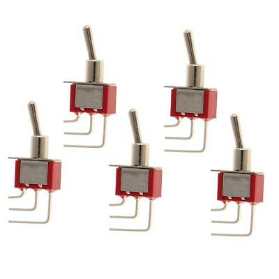 5pcs On/On SPDT Small Mini Toggle Switch 3 PIN Right Angle Red
