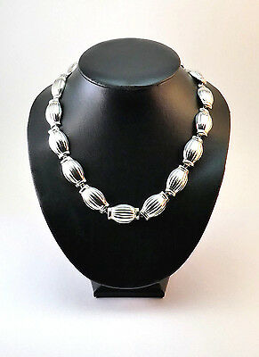 Weighty Modernist Taxco Mexico Mexican Sterling Silver  Barrel Bead Necklace