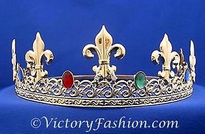 Pageant Royal King's Crown Gold-Plated Metal & Faux Jewels Adjustable Size
