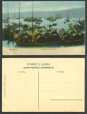 Hong Kong China Old Colour Postcard Sampans in The Harbour Native Boats Shipping